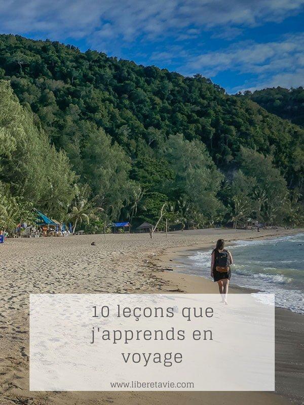 10 leçons que j'apprends en voyage